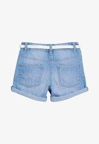 Next - DENIM MID BLUE SHORTS WITH GLITTER PURSE BELT (3-16YRS) - Denim shorts - blue - 1