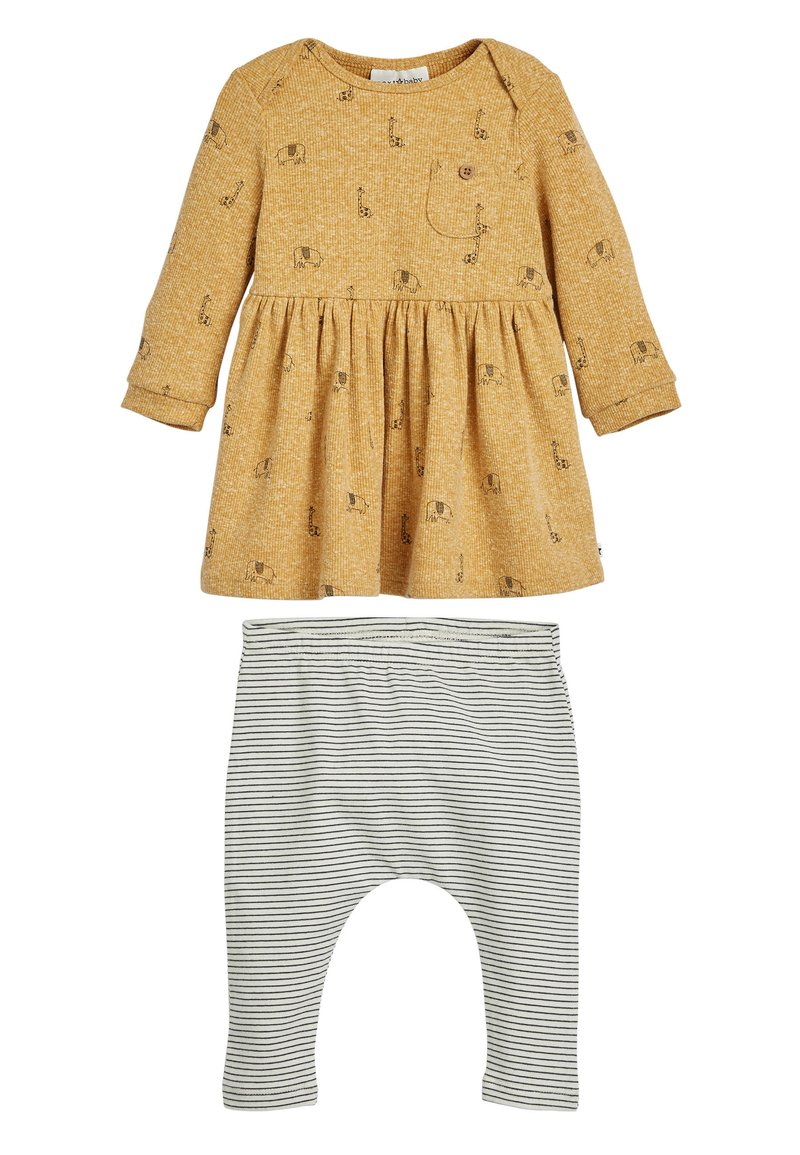 Next - OCHRE GIRAFFE DRESS AND LEGGINGS SET (0MTHS-3YRS) - Legíny - yellow