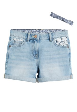 DENIM LACE TRIM SHORTS WITH HEADBAND (3-16YRS) - Denim shorts - blue