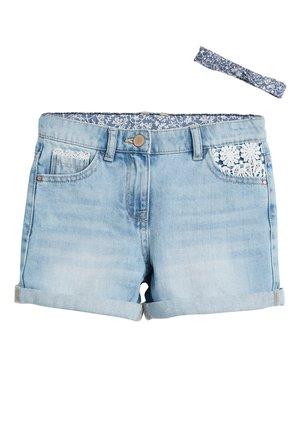 DENIM LACE TRIM SHORTS WITH HEADBAND (3-16YRS) - Shorts di jeans - blue
