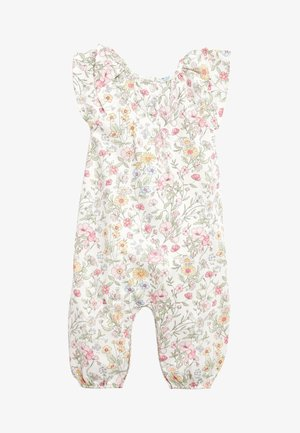 ECRU/PINK FLORAL PRINT ROMPER (0MTHS-2YRS) - Overall / Jumpsuit /Buksedragter - off-white