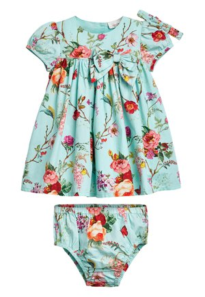 TEAL FLORAL PROM DRESS WITH KNICKERS AND HEADBAND (0MTHS-2YRS) - Denní šaty - blue