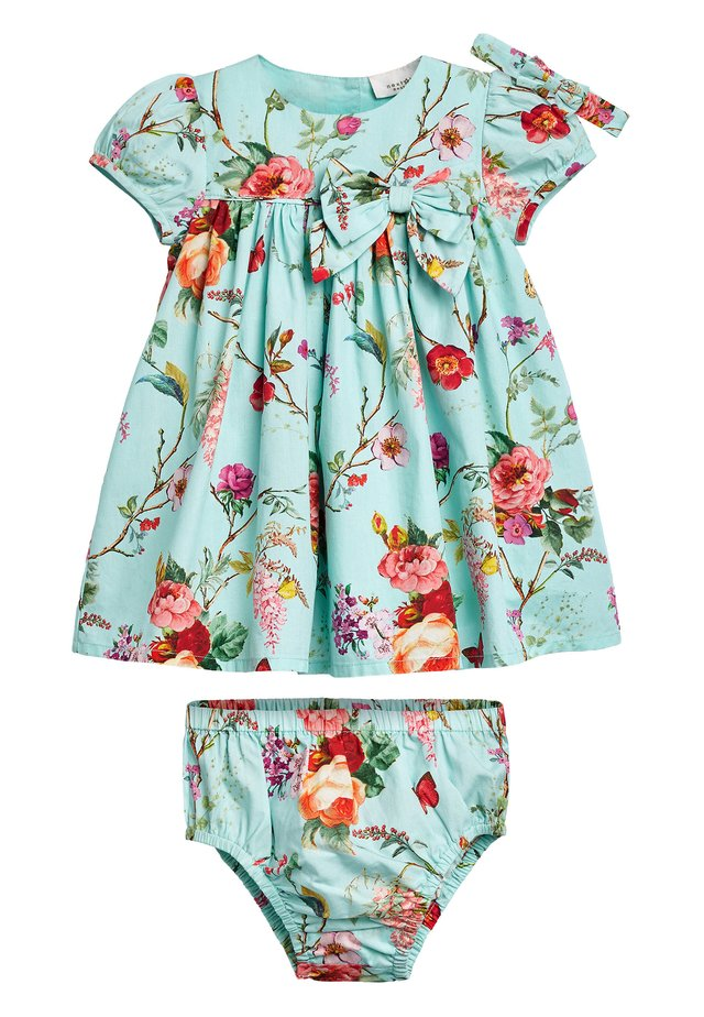 TEAL FLORAL PROM DRESS WITH KNICKERS AND HEADBAND (0MTHS-2YRS) - Robe d'été - blue