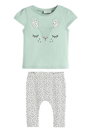 TEAL CHARACTER T-SHIRT AND LEGGINGS SET (0MTHS-2YRS) - Leggings - Trousers - green