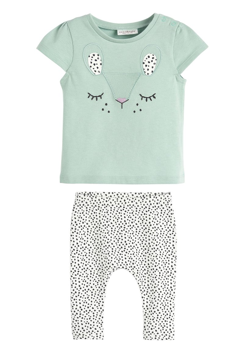 Next - TEAL CHARACTER T-SHIRT AND LEGGINGS SET (0MTHS-2YRS) - Leggings - Trousers - green