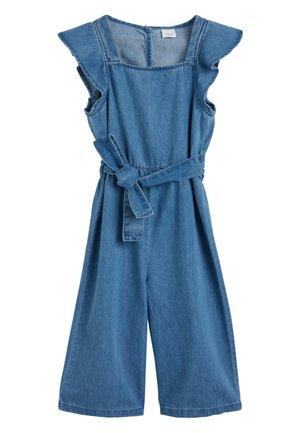 DENIM MID BLUE FRILL SHOULDER PLAYSUIT (3-16YRS) - Jumpsuit - blue