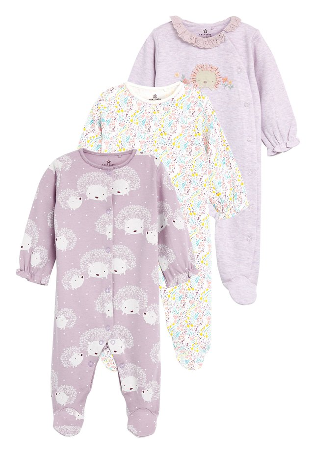 LILAC 3 PACK HEDGEHOG SLEEPSUITS (0-18MTHS) - Piżama - purple
