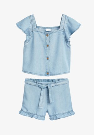 DENIM FRILL SHOULDER CO-ORD SET (3-16YRS) - Denim shorts - blue