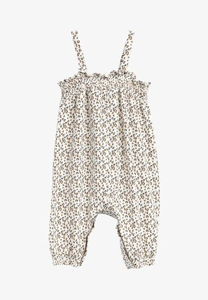 Jumpsuit - white, brown