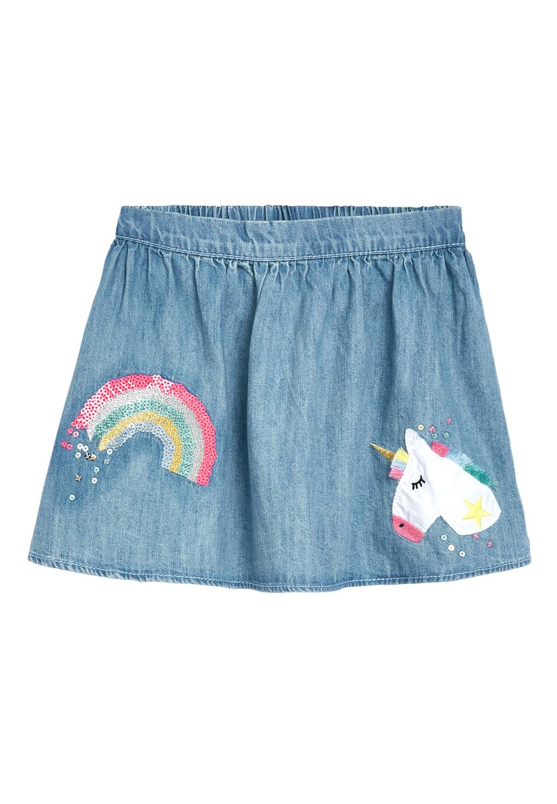 Next - DENIM BLUE UNICORN SEQUIN SKIRT (3MTHS-7YRS) - Jeansrok - blue