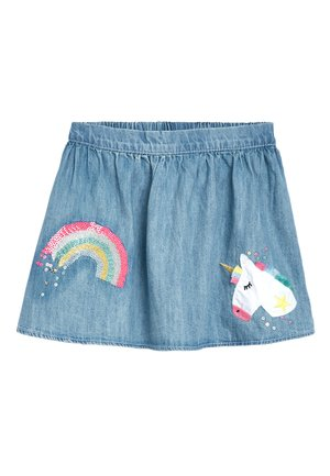 DENIM BLUE UNICORN SEQUIN SKIRT (3MTHS-7YRS) - A-lijn rok - blue