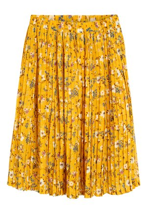 GREEN FLORAL PLEATED SKIRT (3-16YRS) - Pleated skirt - yellow