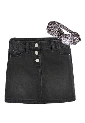 BLACK BUTTON FRONT SKIRT AND HEADBAND (3-16YRS) - Jeansrok - black