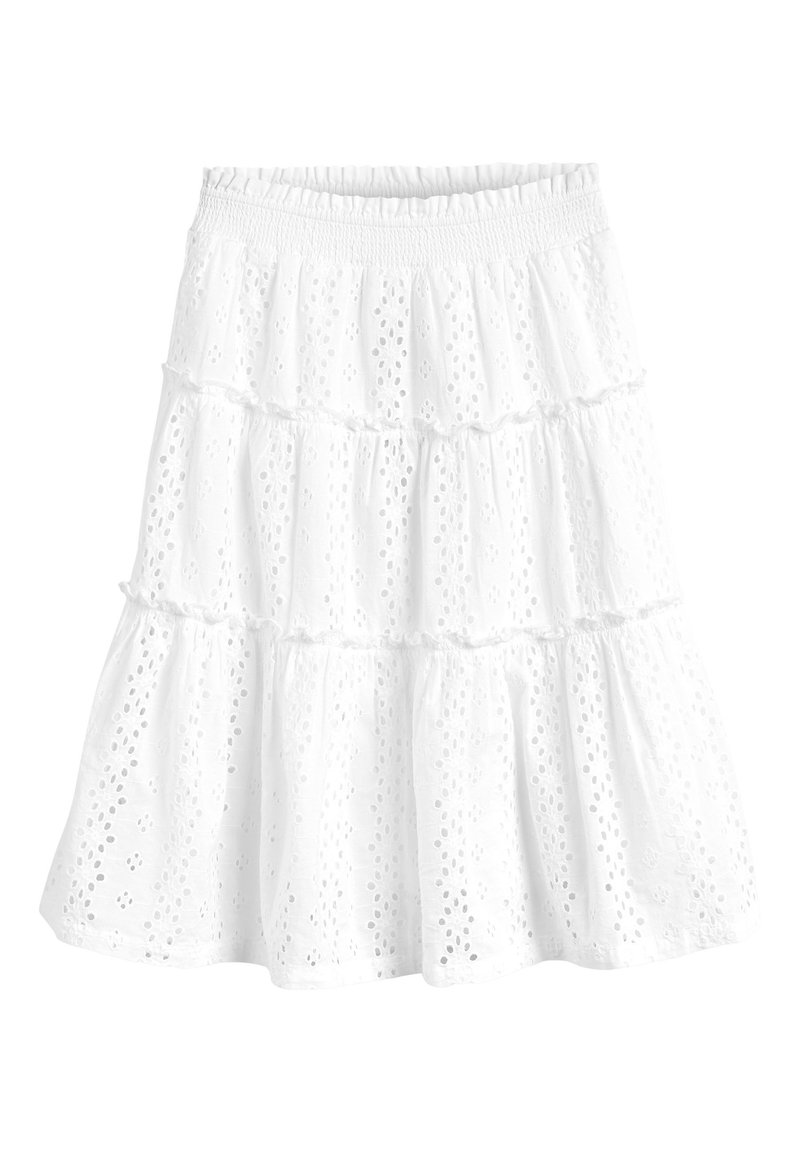 Next - WHITE BRODERIE TIERED MAXI SKIRT (3-16YRS) - Maxi skirt - white