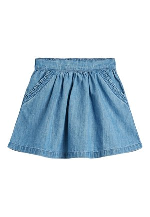 MID BLUE DENIM FRILL POCKET SKIRT (3MTHS-10YRS) - A-line skirt - blue