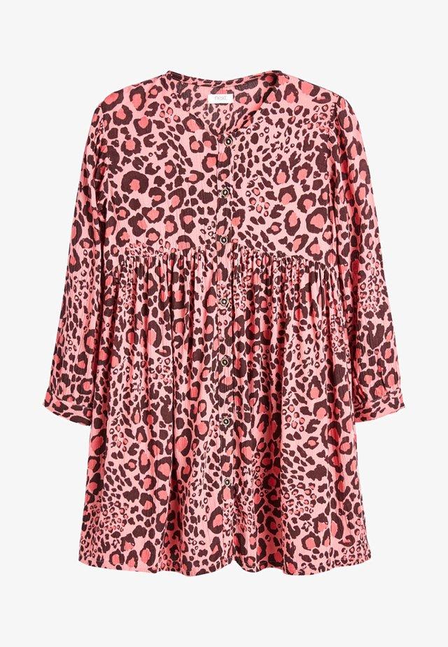 MONOCHROME CHECK BUTTON THROUGH DRESS (3-16YRS) - Robe d'été - pink