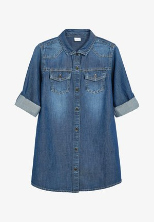 LONGLINE - Button-down blouse - blue
