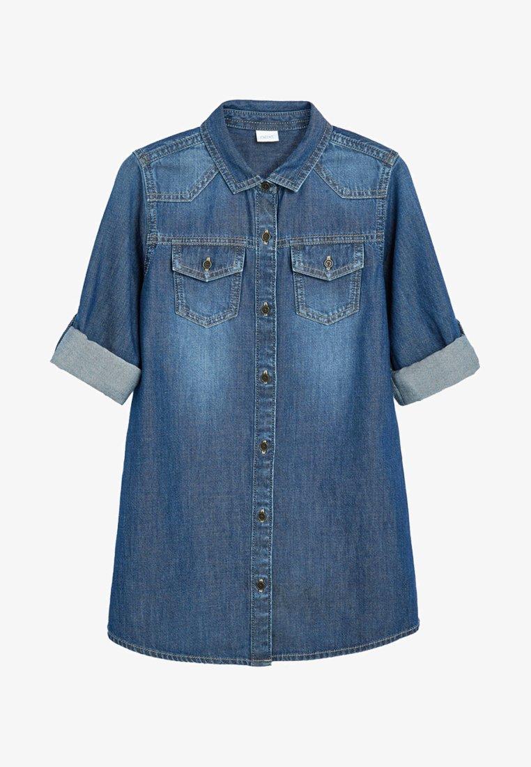 Next - LONGLINE - Button-down blouse - blue