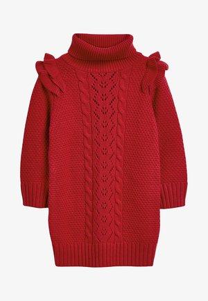 FRILL CABLE - Gebreide jurk - red