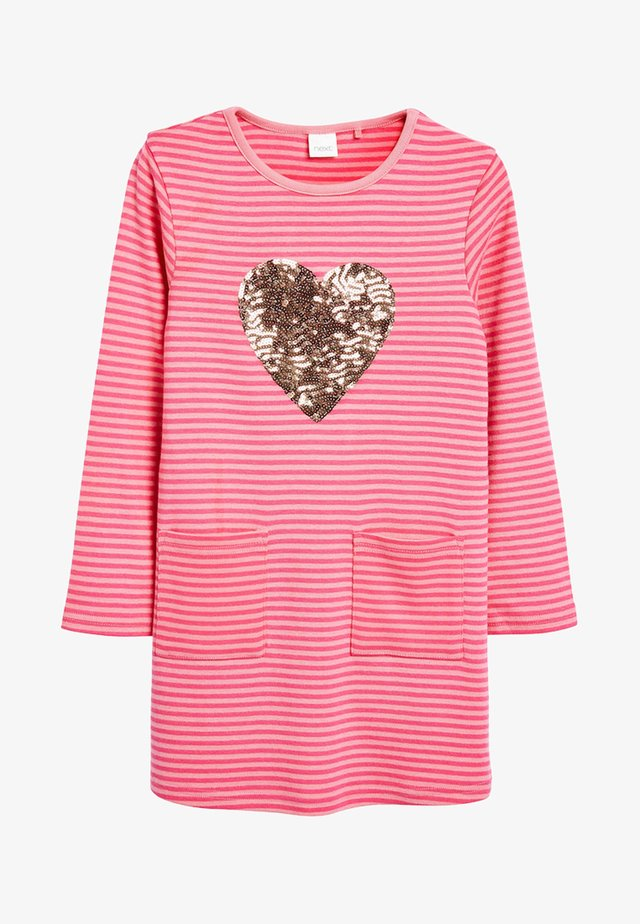 PINK SEQUIN HEART LONG SLEEVE DRESS (3-16YRS) - Robe d'été - pink