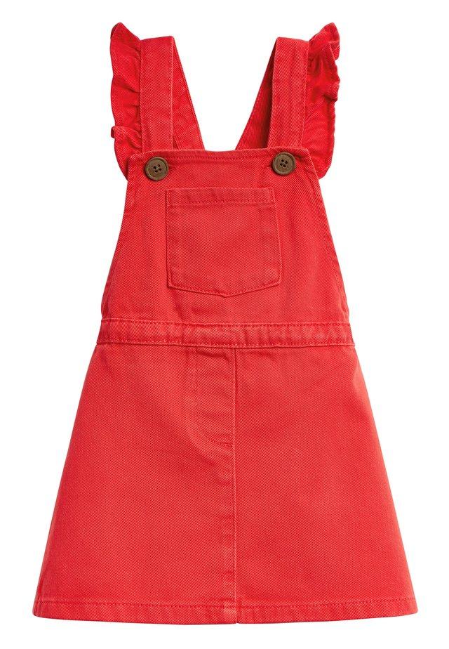 DENIM FRILL PINAFORE (3MTHS-7YRS) - Denim dress - red
