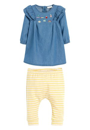 DENIM EMBROIDERED DRESS SET (0MTHS-2YRS) - Leggings - blue