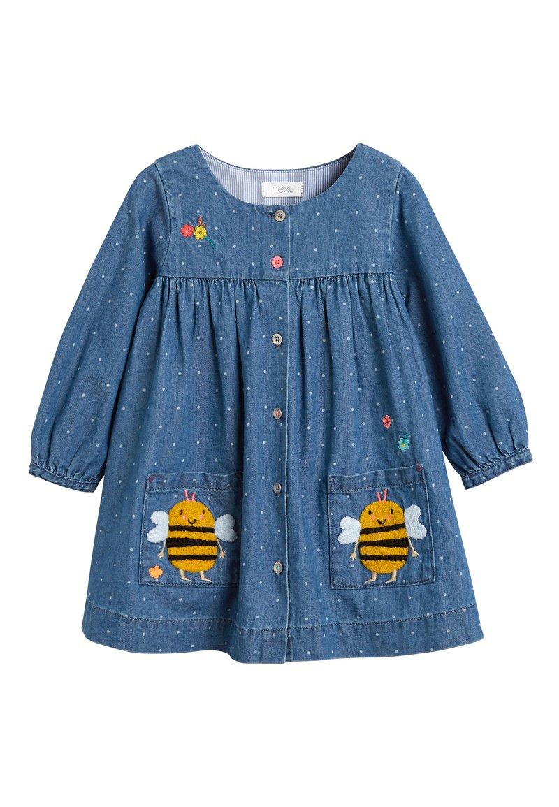 Next - DENIM BUTTON THROUGH DRESS (3MTHS-7YRS) - Denimové šaty - blue