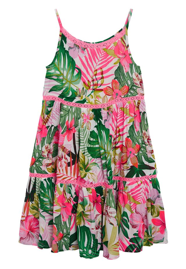 PINK/GREEN PALM PRINT TIERED DRESS - Sukienka letnia - pink
