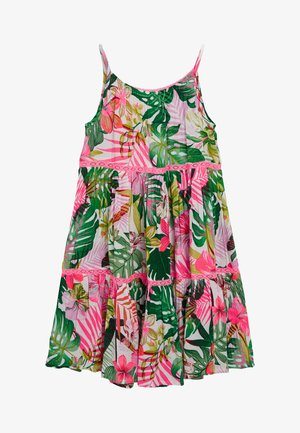 PINK/GREEN PALM PRINT TIERED DRESS - Denní šaty - pink