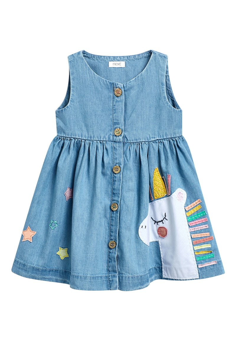 Next - DENIM UNICORN BUTTON THROUGH DRESS (3MTHS-7YRS) - Spijkerjurk - blue