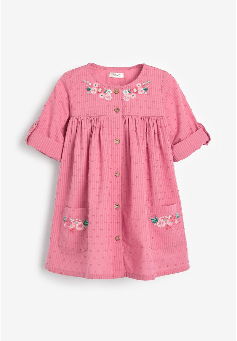 Next - BUTTON THROUGH DRESS (3MTHS-7YRS) - Paitamekko - pink