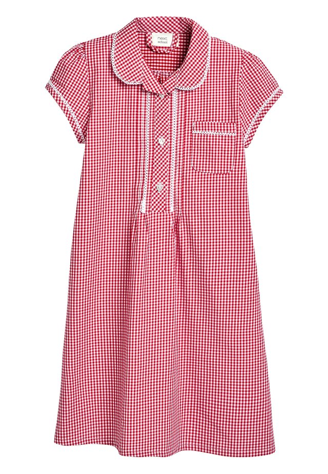 RED BUTTON FRONT LACE GINGHAM DRESS (3-14YRS) - Košilové šaty - red