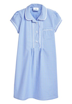 RED BUTTON FRONT LACE GINGHAM DRESS (3-14YRS) - Košilové šaty - blue