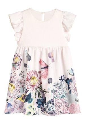 PALE PINK FLORAL BORDER PRINT DRESS (3MTHS-7YRS) - Day dress - pink