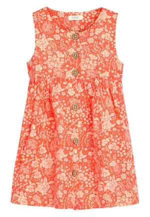 FLURO ORANGE SLEEVELESS BUTTON THROUGH DRESS (3MTHS-7YRS) - Paitamekko - orange