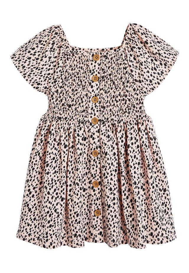 ORANGE SHIRRED BUTTON THROUGH DRESS (3MTHS-7YRS) - Day dress - pink
