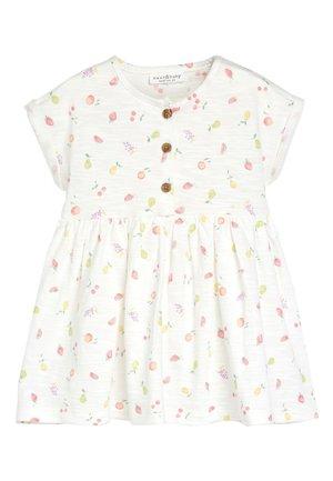 ECRU FRUIT PRINT JERSEY DRESS (0MTHS-2YRS) - Jerseyjurk - white