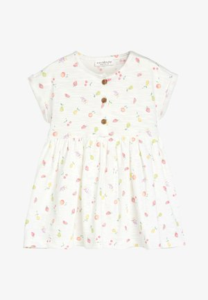 ECRU FRUIT PRINT JERSEY DRESS (0MTHS-2YRS) - Žerzejové šaty - white