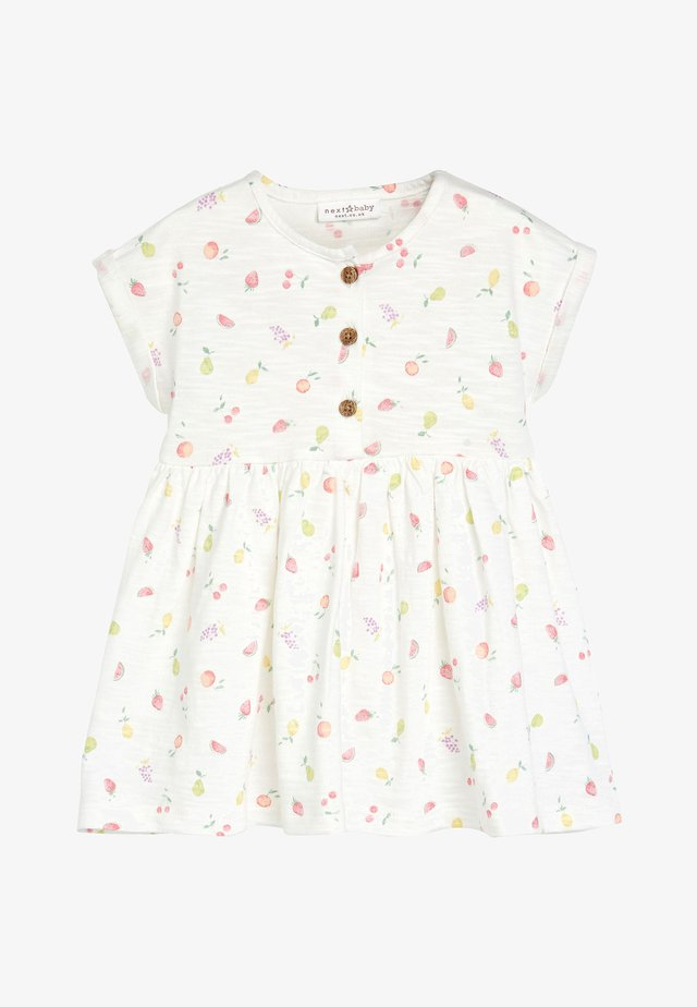 ECRU FRUIT PRINT JERSEY DRESS (0MTHS-2YRS) - Sukienka z dżerseju - white
