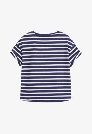 NAVY/WHITE STRIPE ORGANIC COTTON BOXY CROPPED T-SHIRT (3-16YRS) - Print T-shirt - blue