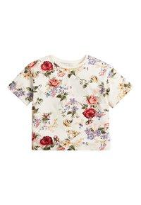 Next - WHITE/PINK FLORAL BOXY FIT T-SHIRT (3MTHS-7YRS) - T-shirt imprimé - off-white - 0