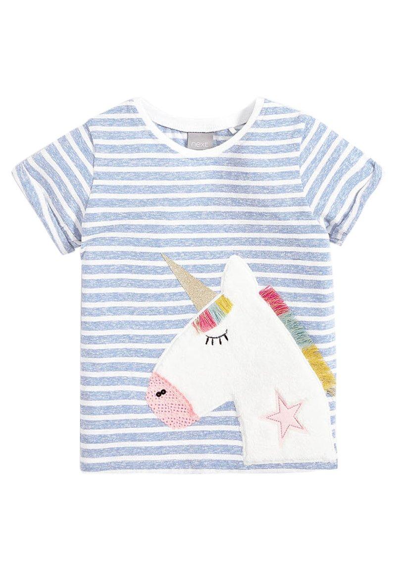 Next - STRIPE UNICORN T-SHIRT (3MTHS-7YRS) - Print T-shirt - blue