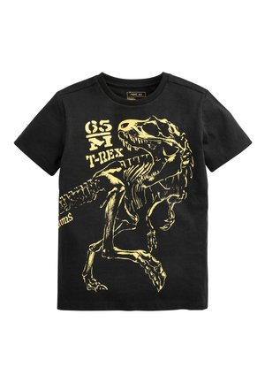 BLACK LONG SLEEVE FOIL DINOSAUR T-SHIRT (3-14YRS) - Print T-shirt - black