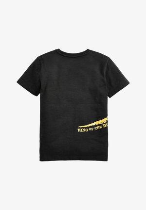 BLACK LONG SLEEVE FOIL DINOSAUR T-SHIRT (3-14YRS) - T-shirt print - black
