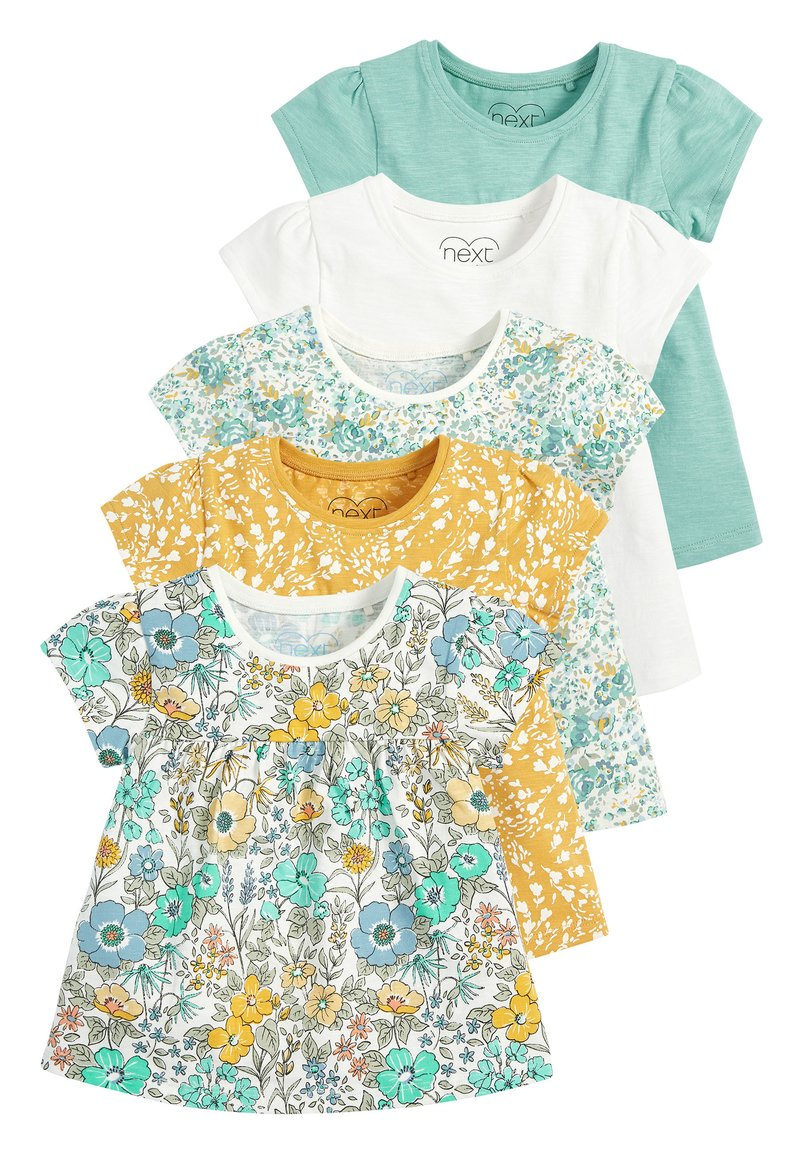 Next - TEAL FLORAL 5 PACK GOTS ORGANIC T-SHIRTS (3MTHS-7YRS) - Blouse - blue