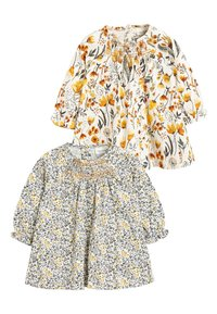 Next - OCHRE/CREAM 2 PACK SMOCK FLORAL TUNIC (0MTHS-2YRS) - Tuniek - off-white - 0