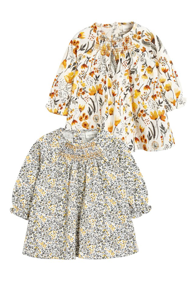 OCHRE/CREAM 2 PACK SMOCK FLORAL TUNIC (0MTHS-2YRS) - Tunic - off-white