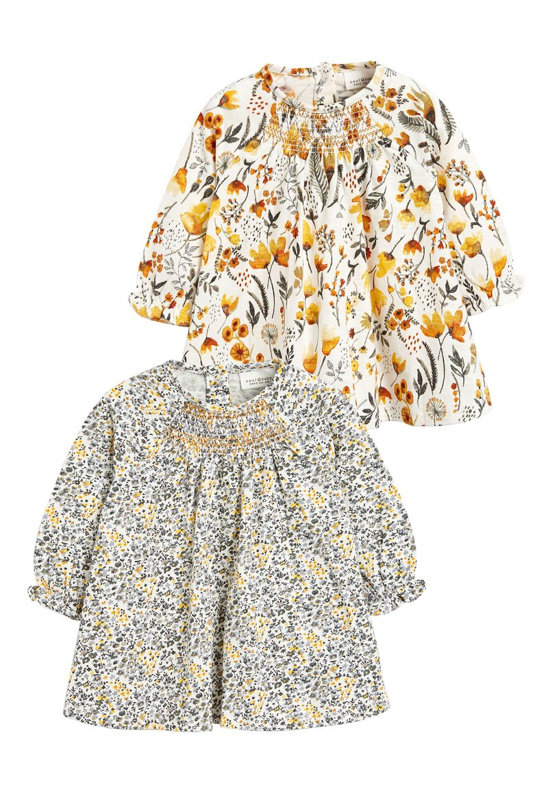 Next - OCHRE/CREAM 2 PACK SMOCK FLORAL TUNIC (0MTHS-2YRS) - Tuniek - off-white