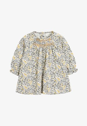 OCHRE/CREAM 2 PACK SMOCK FLORAL TUNIC (0MTHS-2YRS) - Tuniek - off-white