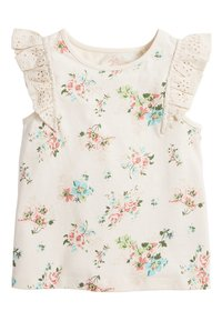 Next - WHITE/PINK BRODERIE FRILL GOTS ORGANIC VEST (3MTHS-8YRS) - Blouse - off-white - 0